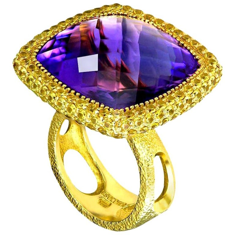 Alex Soldier Amethyst Sapphire Gold Textured Cocktail Ring One of a Kind For Sale