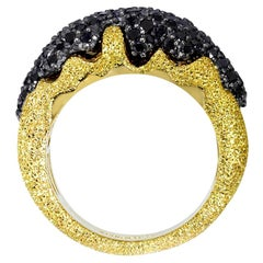 Alex Soldier Black Diamond Gold Textured Ring Band One of a Kind