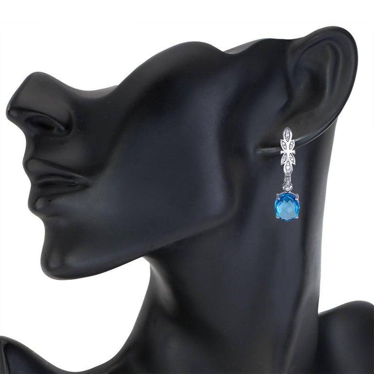 Women's or Men's Alex Soldier Blue Topaz Diamond Gold Drop Dangle Earrings One of a Kind For Sale