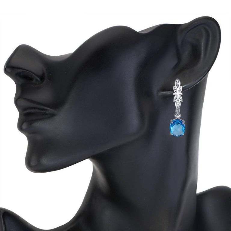 Alex Soldier Blue Topaz Diamond Gold Drop Dangle Earrings One of a Kind In New Condition For Sale In New York, NY
