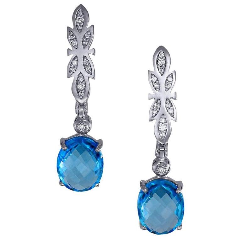 Alex Soldier Blue Topaz Diamond Gold Drop Dangle Earrings One of a Kind For Sale