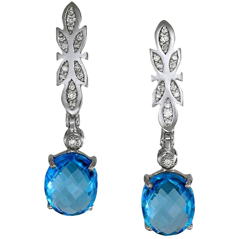 Alex Soldier Blue Topaz Diamond Gold Drop Dangle Earrings One of a Kind For Sale