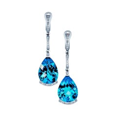 Alex Soldier Blue Topaz Diamond Gold Earrings as Seen on Princess Charlene