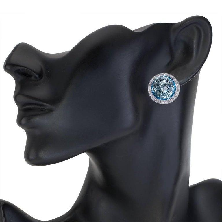 Women's or Men's Alex Soldier Blue Topaz Diamond Gold Stud Earrings Cufflinks One of a Kind For Sale