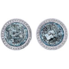 Alex Soldier Blue Topaz Diamond Gold Stud Earrings Cufflinks One of a Kind