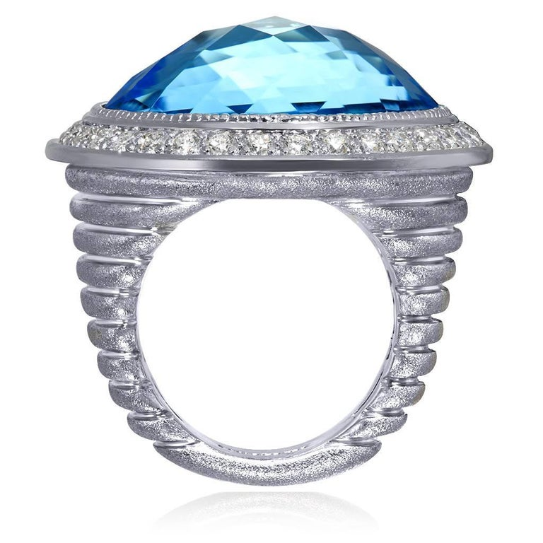 Round Cut Alex Soldier Blue Topaz Diamond Textured Gold Cocktail Ring One of a Kind For Sale