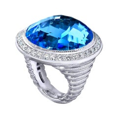 Alex Soldier Blue Topaz Diamond Textured Gold Cocktail Ring One of a Kind