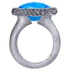 Alex Soldier Blue Topaz Diamond Textured White Gold Cocktail Ring One of a Kind