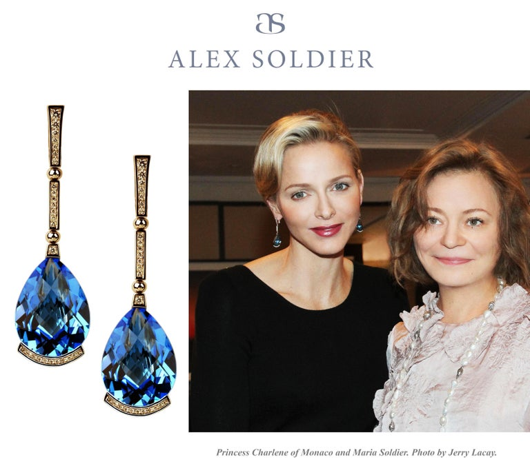 Alex Soldier Blue Topaz Diamond White Gold Swan Drop Earrings One of a Kind For Sale 2