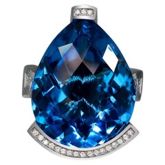 Alex Soldier Blue Topaz Diamond White Gold Swan Ring One of a Kind