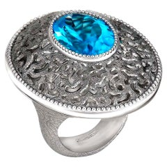 Alex Soldier Blue Topaz Sterling Silver Platinum Galactica Ring One of a Kind
