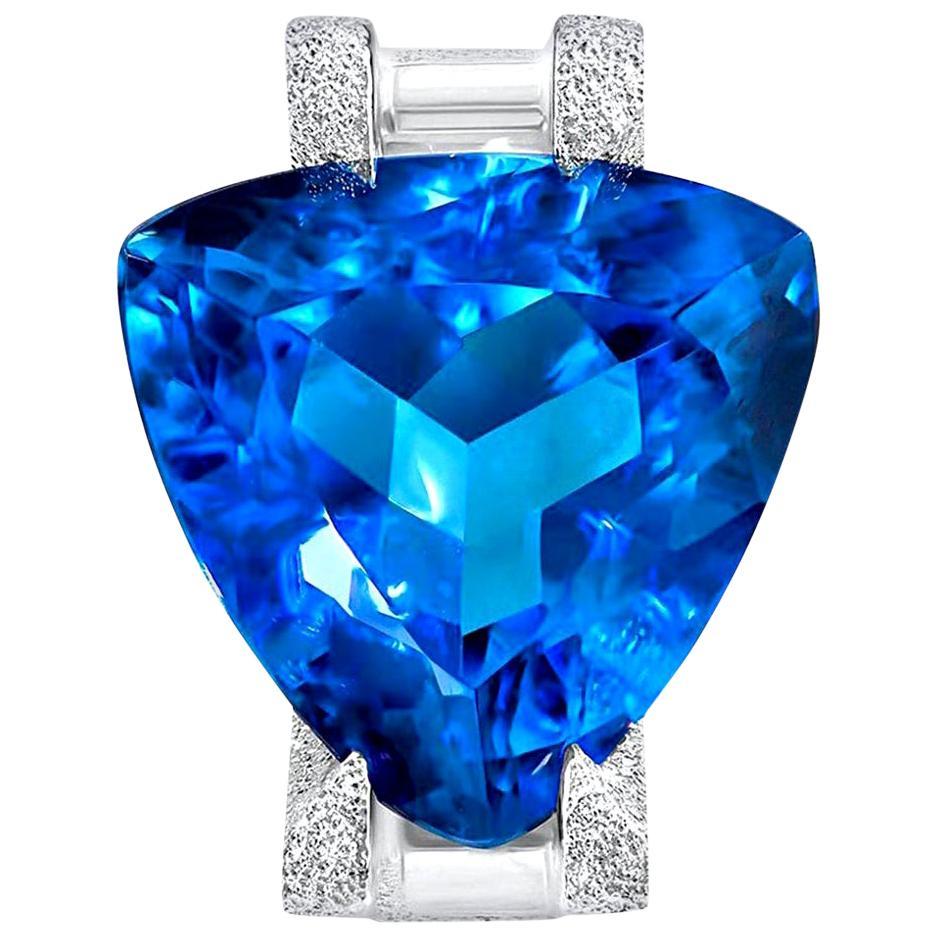 Alex Soldier Blue Topaz Tourmaline Diamond White Gold Ring One of a Kind