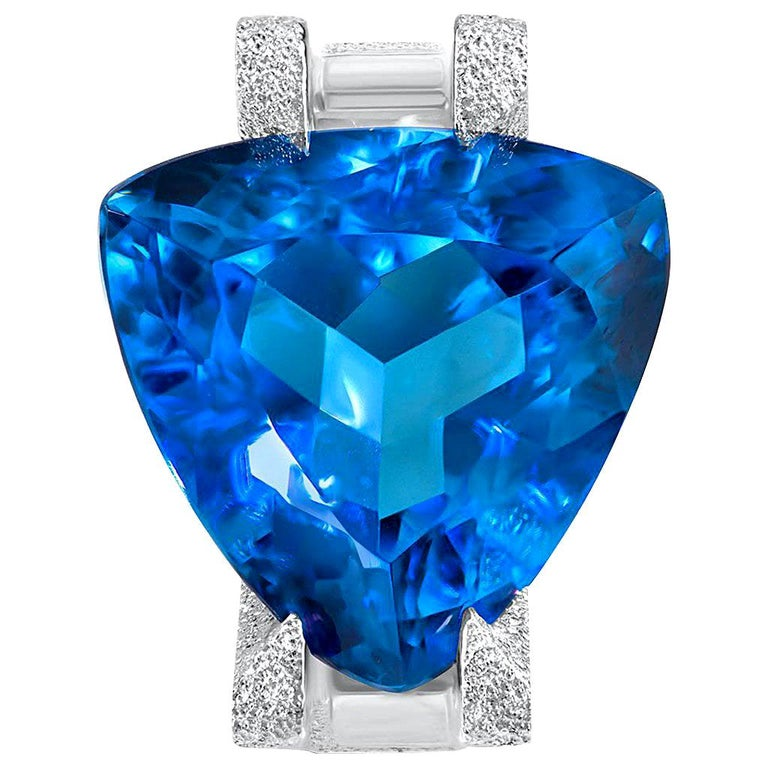 Alex Soldier Blue Topaz Tourmaline Diamond White Gold Ring One of a Kind For Sale