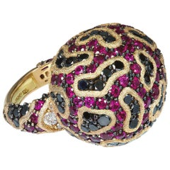 Alex Soldier Burma Ruby Diamond 18 Karat Gold Hand-Textured Ring One of a Kind