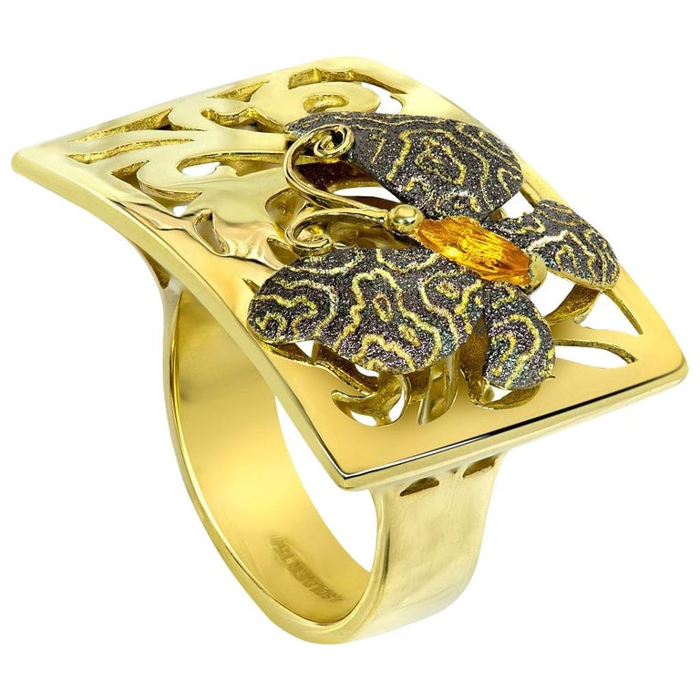 Contemporary Alex Soldier Butterfly Citrine 18K Gold Textured Cocktail Ring One of a Kind