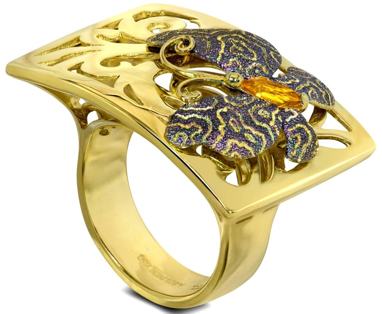 Marquise Cut Alex Soldier Butterfly Citrine 18K Gold Textured Cocktail Ring One of a Kind