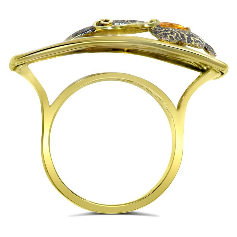 Women's or Men's Alex Soldier Butterfly Citrine 18K Gold Textured Cocktail Ring One of a Kind