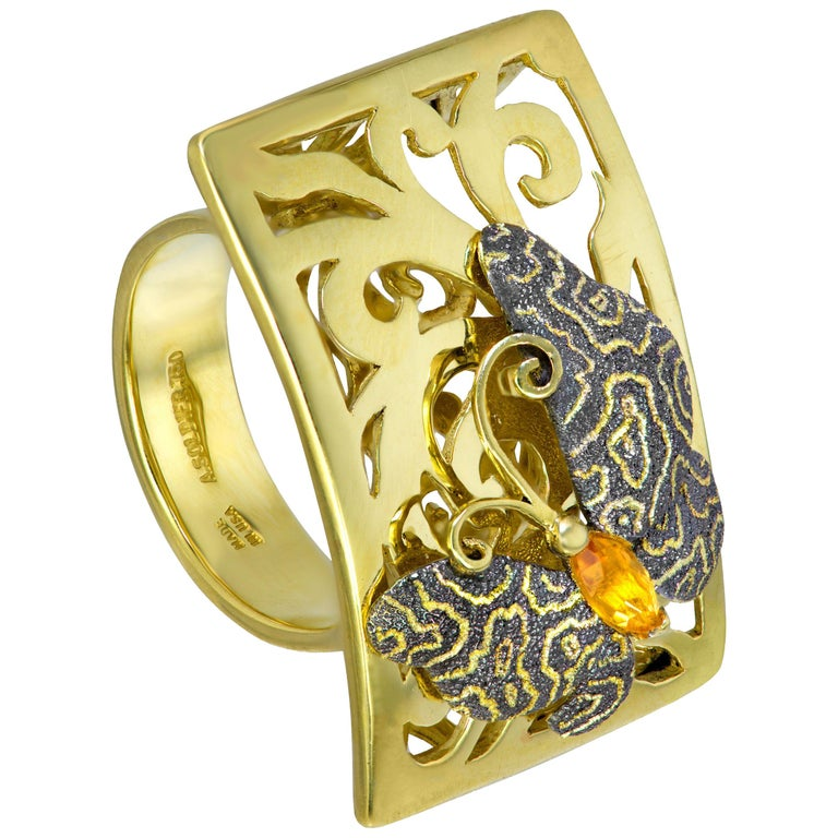 Alex Soldier Butterfly Citrine 18K Gold Textured Cocktail Ring One of a Kind