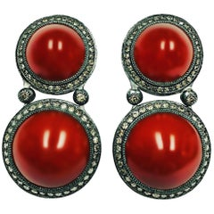 Alex Soldier Carnelian Diamond Sterling Silver Clip-On Earrings One of a Kind