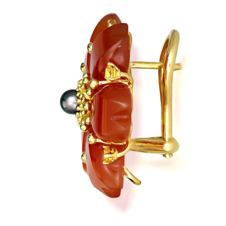 Alex Soldier Carnelian Rutilated Quartz Sapphire Pearl Gold Convertible Earrings 2