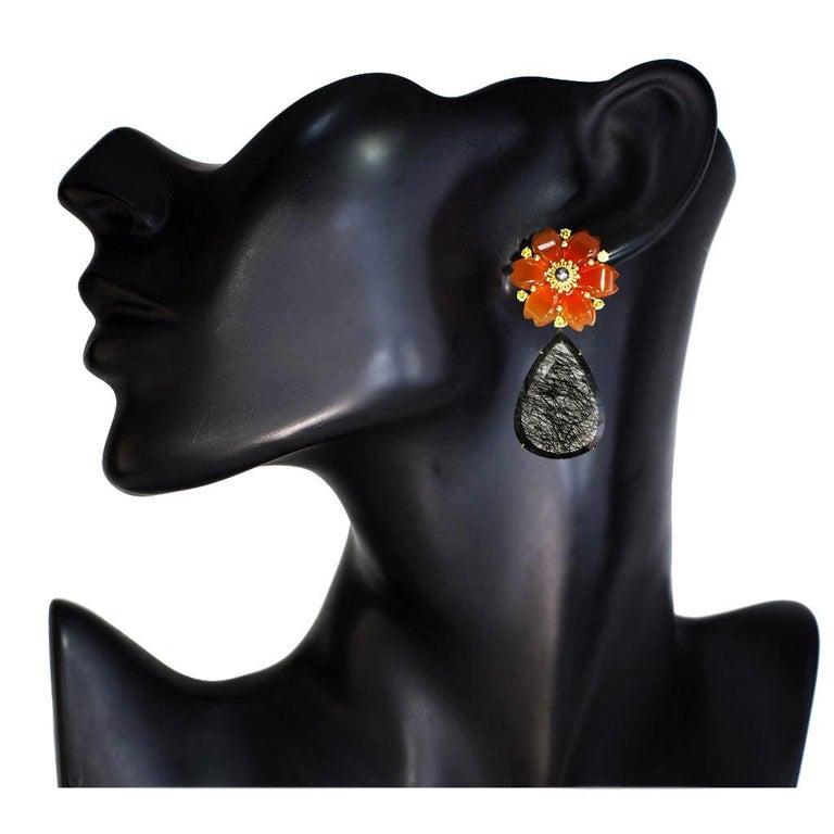 Alex Soldier Carnelian Rutilated Quartz Sapphire Pearl Gold Convertible Earrings For Sale 4