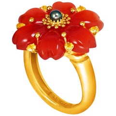 Alex Soldier Carnelian Sapphire Pearl Gold Blossom Ring One of a Kind