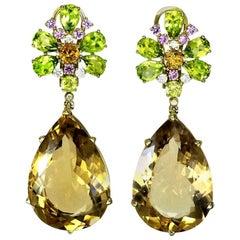 Alex Soldier Champagne Quartz Peridot Pink Sapphire Diamond Gold Drop Earrings