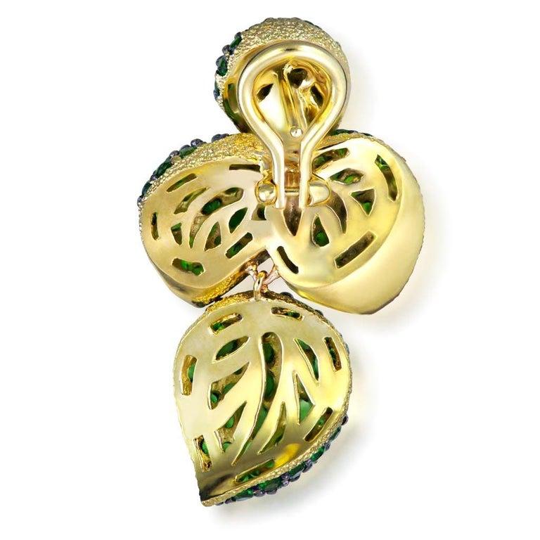 Women's Alex Soldier Chrome Diopside Tsavorite Garnet Gold Earrings One of a Kind For Sale