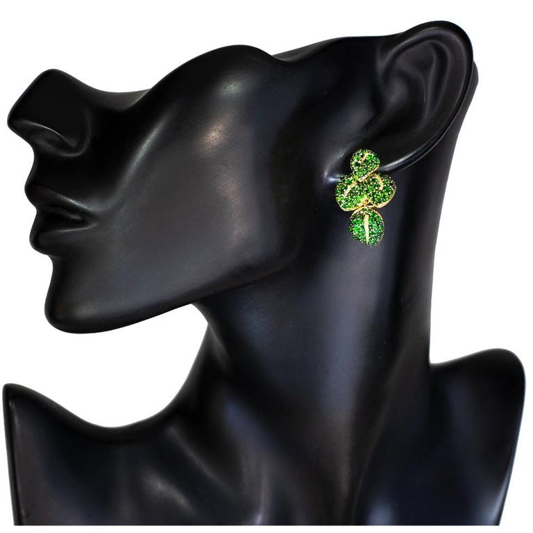 Alex Soldier Chrome Diopside Tsavorite Garnet Gold Earrings One of a Kind For Sale 1