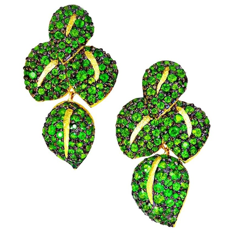 Alex Soldier Chrome Diopside Tsavorite Garnet Gold Earrings One of a Kind For Sale