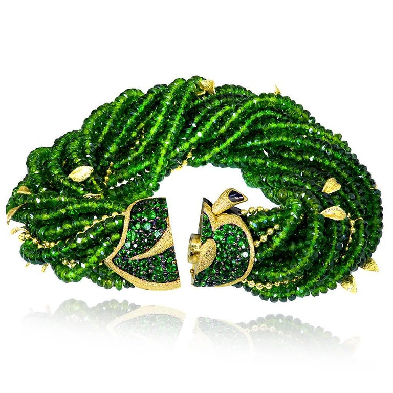 Contemporary Alex Soldier Chrome Diopside Tsavorite Garnet Gold Leaf Bracelet One of a Kind For Sale