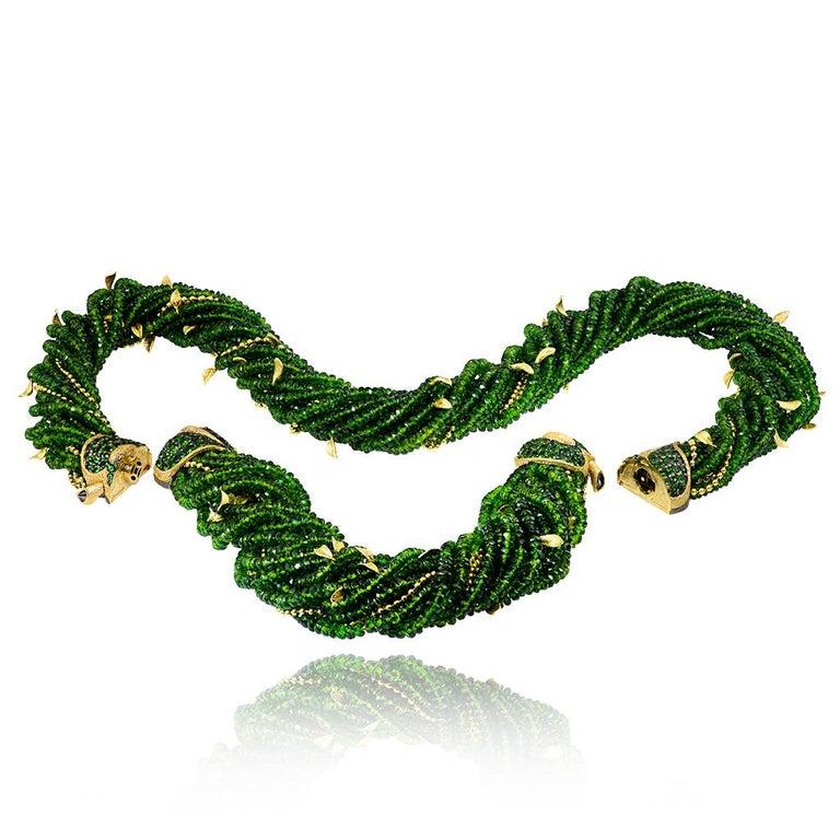 Women's or Men's Alex Soldier Chrome Diopside Tsavorite Garnet Gold Leaf Bracelet One of a Kind For Sale