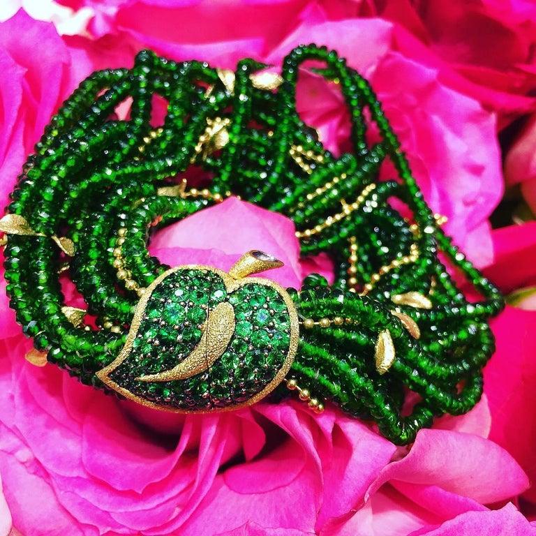 Alex Soldier Chrome Diopside Tsavorite Garnet Gold Leaf Bracelet One of a Kind For Sale 1