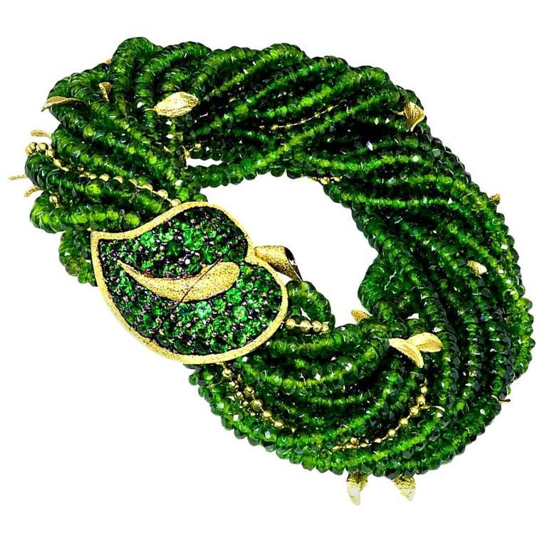 Alex Soldier Chrome Diopside Tsavorite Garnet Gold Leaf Bracelet One of a Kind For Sale