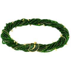 Alex Soldier Chrome Diopside Tsavorite Garnet Gold Leaf Necklace One of a Kind