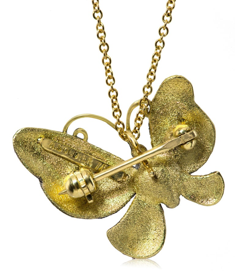 Contemporary Alex Soldier Citrine Gold Butterfly Hand-Textured Pendant Necklace Pin on Chain For Sale