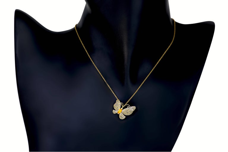 Alex Soldier Citrine Gold Butterfly Hand-Textured Pendant Necklace Pin on Chain In New Condition For Sale In New York, NY
