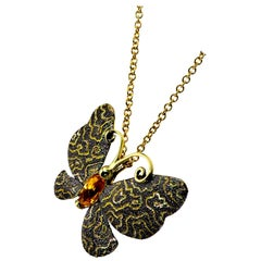 Alex Soldier Citrine Gold Butterfly Hand-Textured Pendant Necklace Pin on Chain