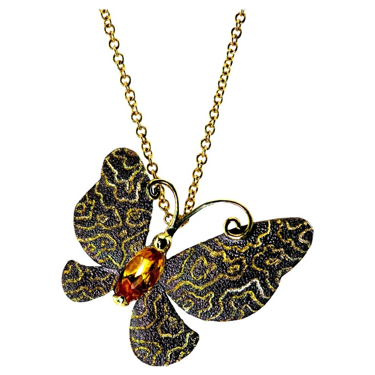 Alex Soldier Citrine Gold Butterfly Hand-Textured Pendant Necklace Pin on Chain For Sale