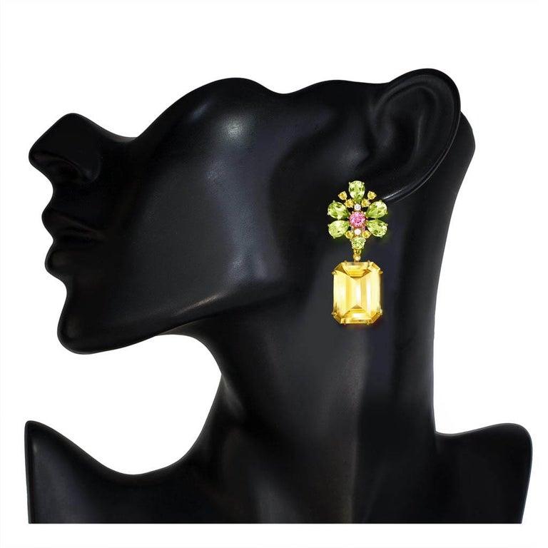 Women's or Men's Alex Soldier Citrine Lemon Quartz Pink Topaz Diamond Gold Blossom Earrings