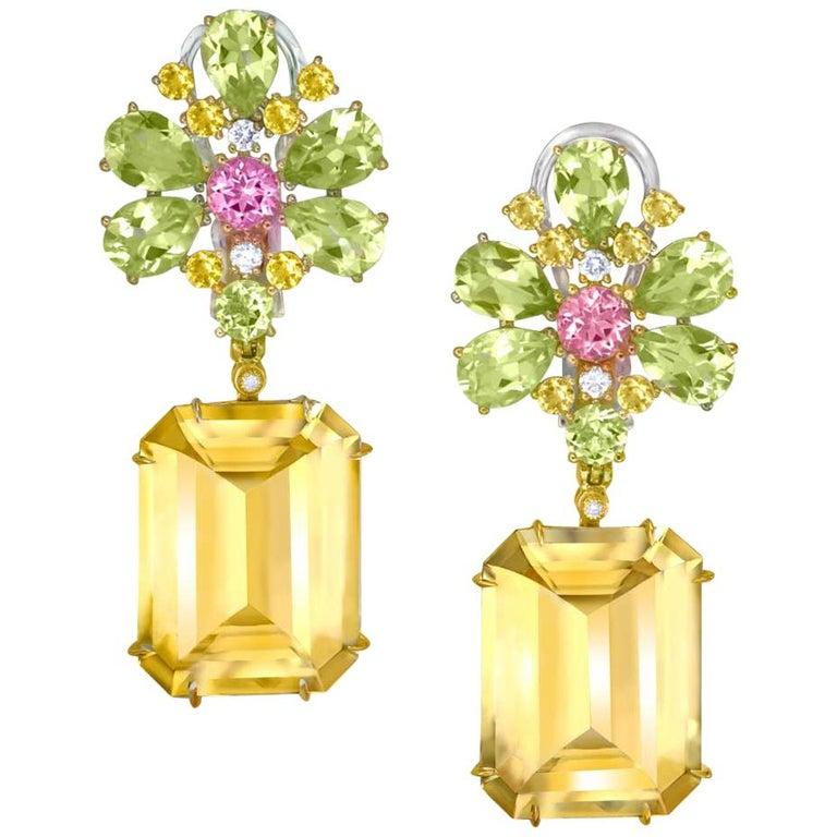 Alex Soldier Citrine Lemon Quartz Pink Topaz Diamond Gold Blossom Earrings