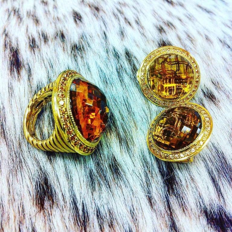 Women's or Men's Alex Soldier Citrine Spessartite Garnet Gold Cocktail Ring One of a Kind For Sale