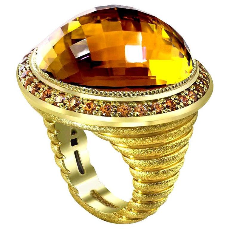 Alex Soldier Citrine Spessartite Garnet Gold Cocktail Ring One of a Kind For Sale