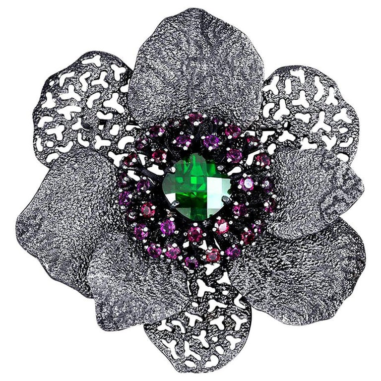 Alex Soldier Crystal Garnet Sterling Silver Textured Brooch Pendant Headpiece For Sale