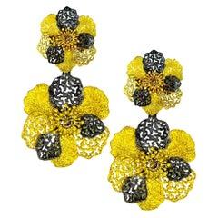 Alex Soldier Diamond 18 Karat Gold Hand-Textured Double Coronaria Earrings