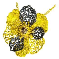 Alex Soldier Diamond 18 Karat Gold Textured Baby Coronaria Pendant Necklace