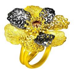 Alex Soldier Diamond 18 Karat Gold Textured Coronaria Ring One of a Kind