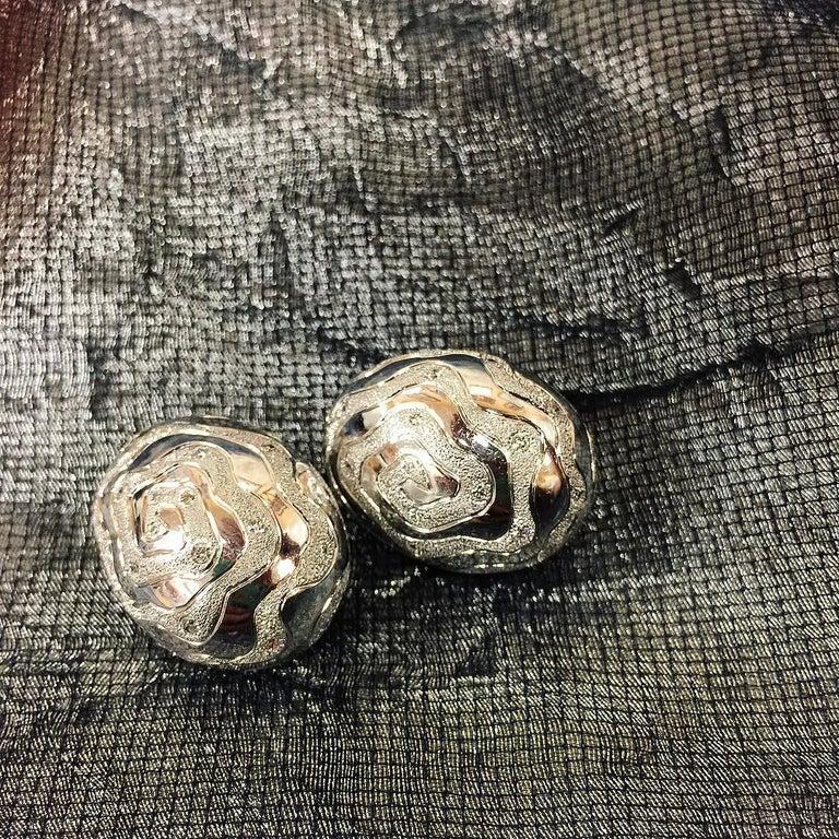 Women's or Men's Alex Soldier Diamond 18 Karat Gold Textured Earrings Cufflinks One of a Kind For Sale