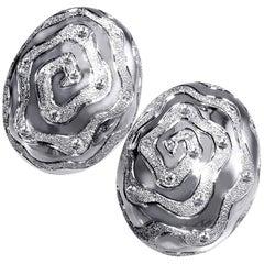 Alex Soldier Diamond 18 Karat Gold Textured Earrings Cufflinks One of a Kind