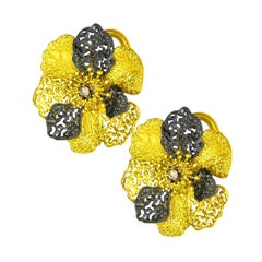 Alex Soldier Diamond 18 Karat Gold Textured Flower of Life and Hope Earrings